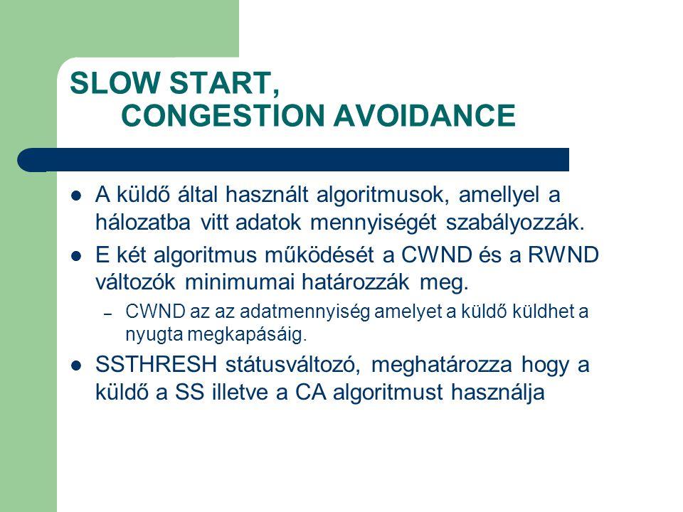 SLOW START, CONGESTION AVOIDANCE A küldő által használt algoritmusok, amellyel a hálozatba vitt adatok mennyiségét szabályozzák.