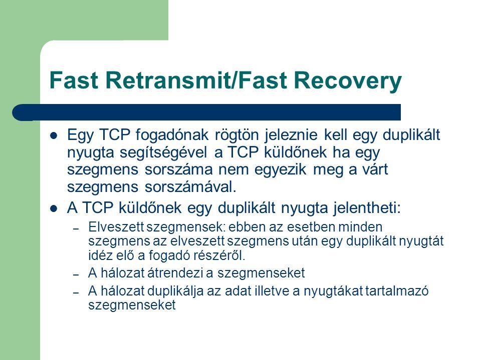 Fast Retransmit/Fast Recovery Egy TCP fogadónak rögtön jeleznie kell egy duplikált nyugta segítségével a TCP küldőnek ha egy szegmens sorszáma nem egyezik meg a várt szegmens sorszámával.