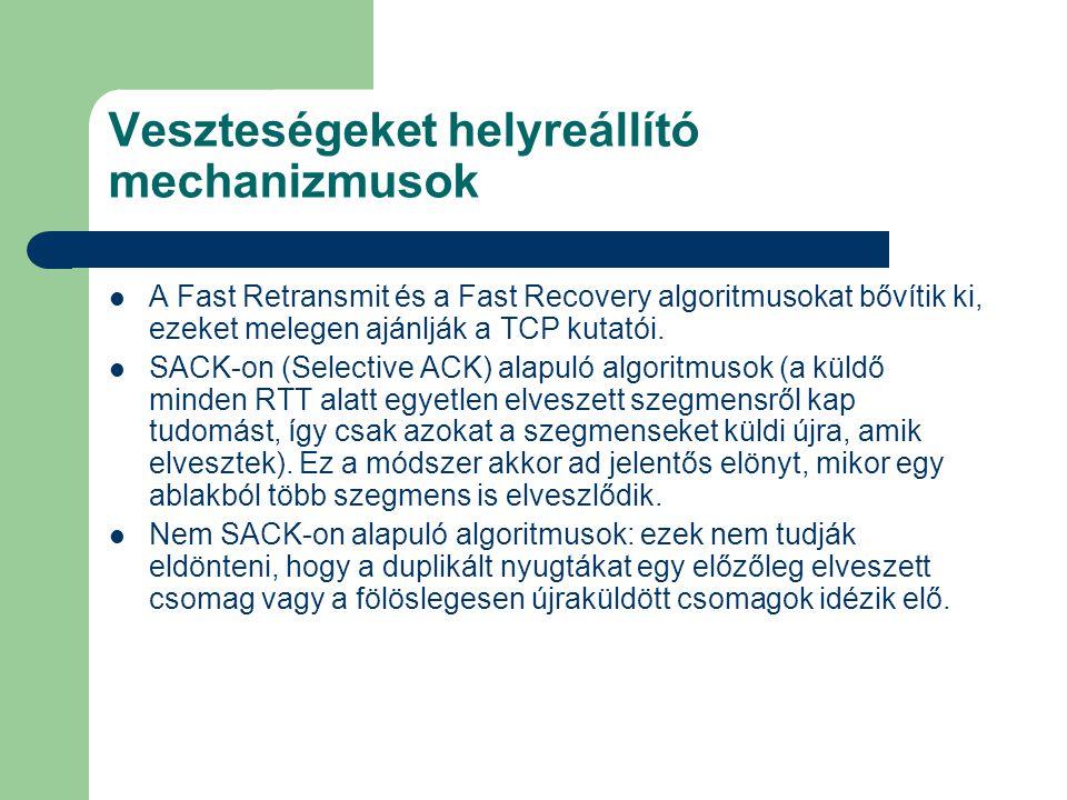 Veszteségeket helyreállító mechanizmusok A Fast Retransmit és a Fast Recovery algoritmusokat bővítik ki, ezeket melegen ajánlják a TCP kutatói.