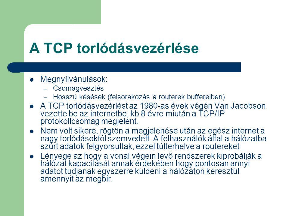 Biztonsági megfontolás A TCP a küldőt arra kötelezi hogy csökkentse a küldési sebességet ujraküldési timeout illetve duplikált nyugta esetén.