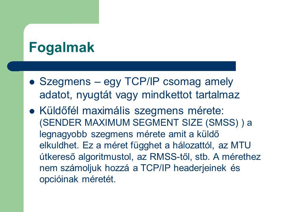 Fogalmak Szegmens – egy TCP/IP csomag amely adatot, nyugtát vagy mindkettot tartalmaz Küldőfél maximális szegmens mérete: (SENDER MAXIMUM SEGMENT SIZE (SMSS) ) a legnagyobb szegmens mérete amit a küldő elkuldhet.