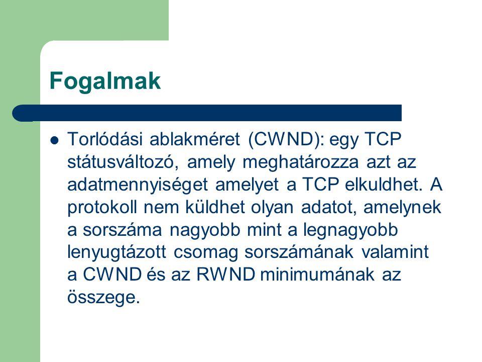 Fogalmak Torlódási ablakméret (CWND): egy TCP státusváltozó, amely meghatározza azt az adatmennyiséget amelyet a TCP elkuldhet.