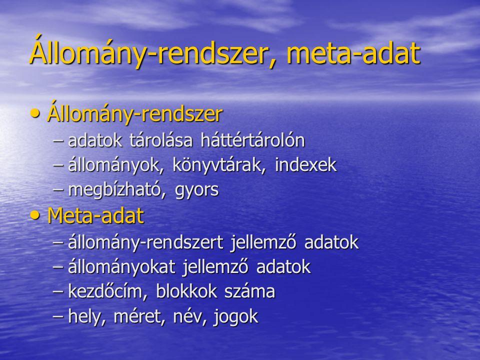 Ext2 Könyvtár: Könyvtár: –könyvtárbejegyzések listája –különböző méretű bejegyzések Könyvtár-bejegyzés: Könyvtár-bejegyzés: Hátrányok: Hátrányok: –hiba esetén teljes állomány-rendszert ellenőrizni kell –nem támogatja a nagyon nagy méretű állományokat és állomány rendszereket inode száma Bejegyzés hossza Név hossza állománynév