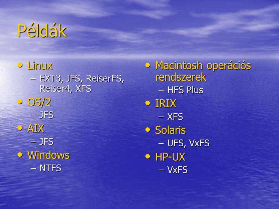 32 bites architektúrán JellemzőExt3ReiserFSXFSJFS alkönyvtár / könyvtár 32 KB 65 KB 4 GB 65 KB max állomány-rendszer méret 2 TB 16 TB max állomány méret 16 TB további információk: - lásd mellékelt állományokat - JFS weblap: http://oss.software.ibm.com/jfs - Naplózó állomány-rendszerek linuxon: http://www.byte.com/documents/s=365/byt20000524s0001/