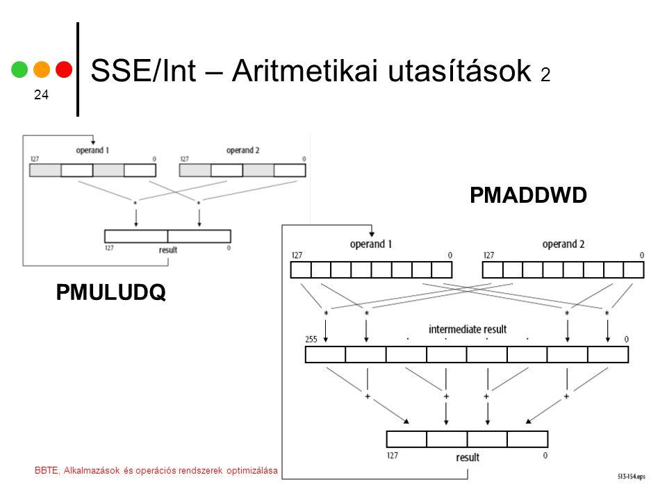 2006BBTE, Alkalmazások és operációs rendszerek optimizálása 24 SSE/Int – Aritmetikai utasítások 2 PMULUDQ PMADDWD