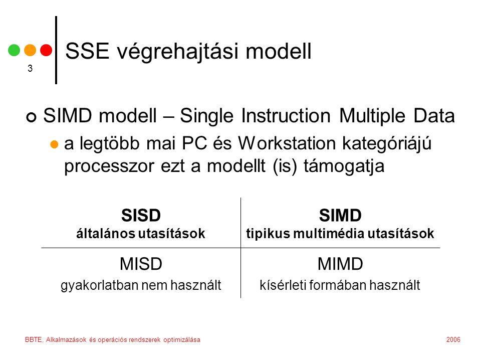 2006BBTE, Alkalmazások és operációs rendszerek optimizálása 3 SSE végrehajtási modell SIMD modell – Single Instruction Multiple Data a legtöbb mai PC és Workstation kategóriájú processzor ezt a modellt (is) támogatja SISD általános utasítások SIMD tipikus multimédia utasítások MISD gyakorlatban nem használt MIMD kísérleti formában használt