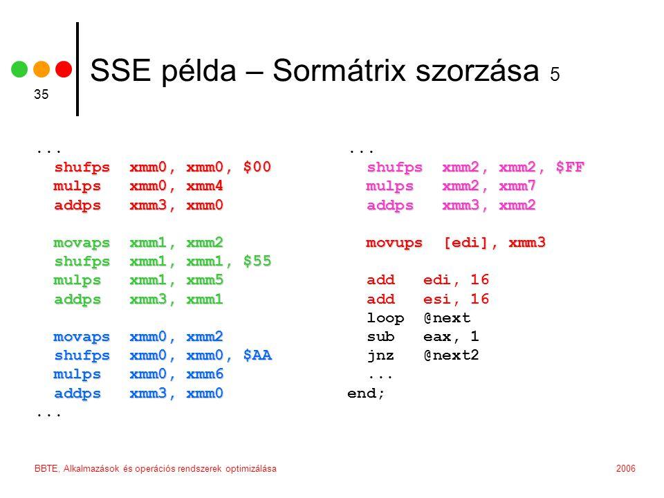2006BBTE, Alkalmazások és operációs rendszerek optimizálása 35 SSE példa – Sormátrix szorzása 5...