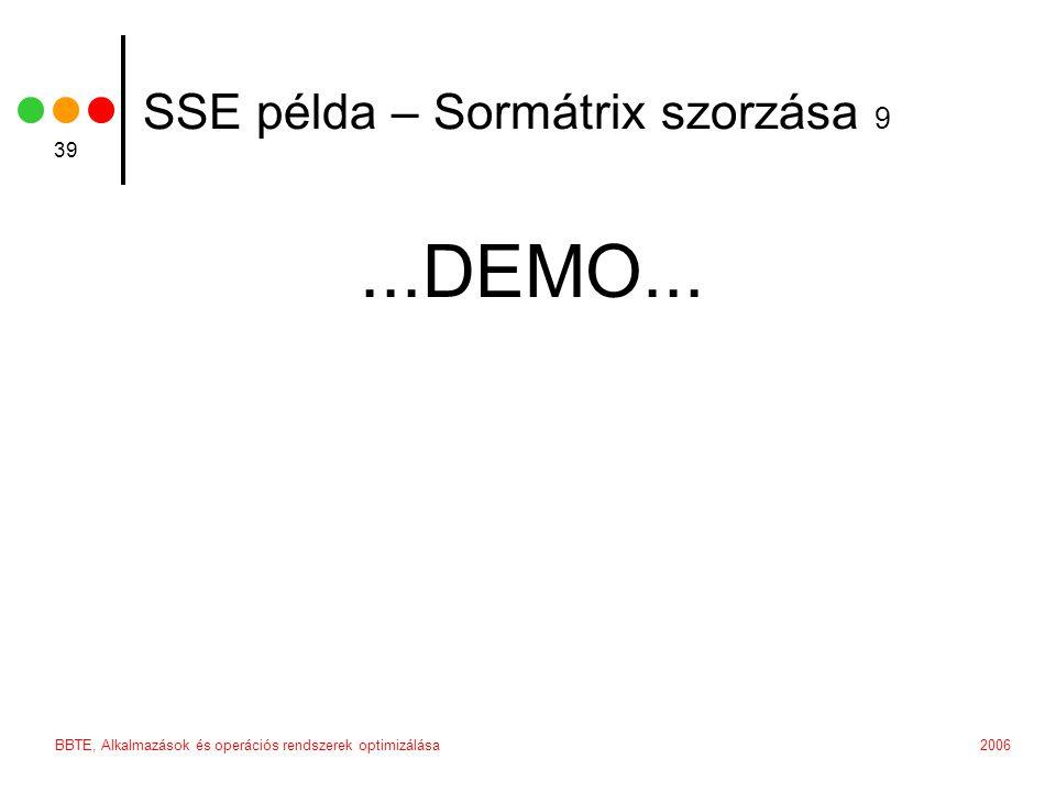 2006BBTE, Alkalmazások és operációs rendszerek optimizálása 39 SSE példa – Sormátrix szorzása 9...DEMO...