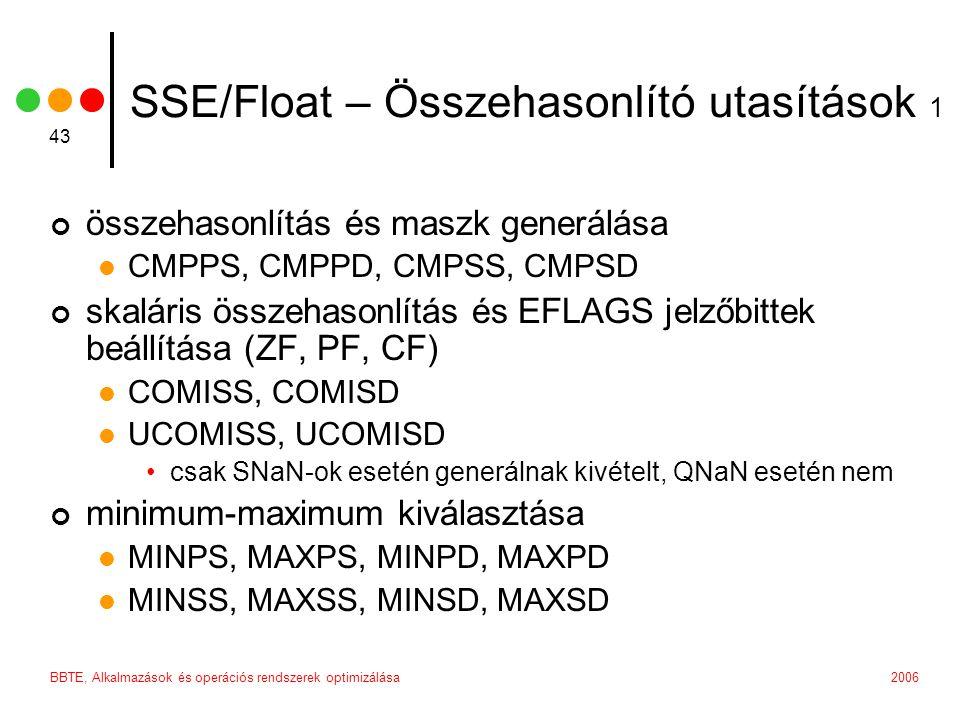 2006BBTE, Alkalmazások és operációs rendszerek optimizálása 43 SSE/Float – Összehasonlító utasítások 1 összehasonlítás és maszk generálása CMPPS, CMPPD, CMPSS, CMPSD skaláris összehasonlítás és EFLAGS jelzőbittek beállítása (ZF, PF, CF) COMISS, COMISD UCOMISS, UCOMISD csak SNaN-ok esetén generálnak kivételt, QNaN esetén nem minimum-maximum kiválasztása MINPS, MAXPS, MINPD, MAXPD MINSS, MAXSS, MINSD, MAXSD
