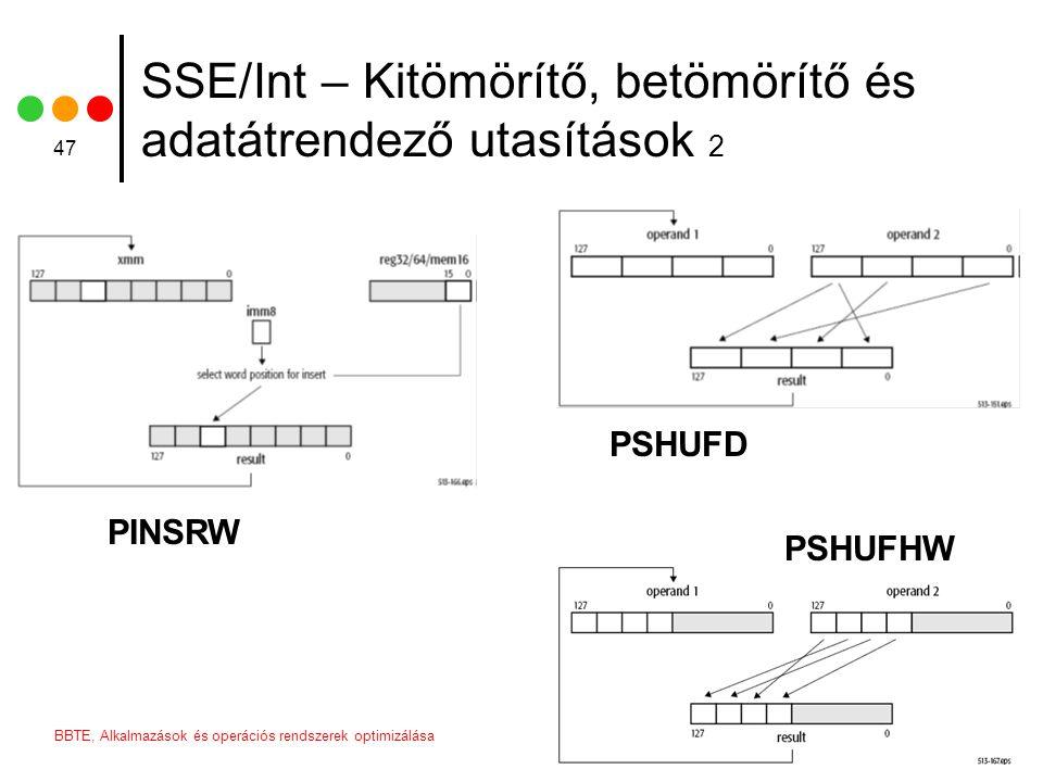 2006BBTE, Alkalmazások és operációs rendszerek optimizálása 47 SSE/Int – Kitömörítő, betömörítő és adatátrendező utasítások 2 PINSRW PSHUFD PSHUFHW