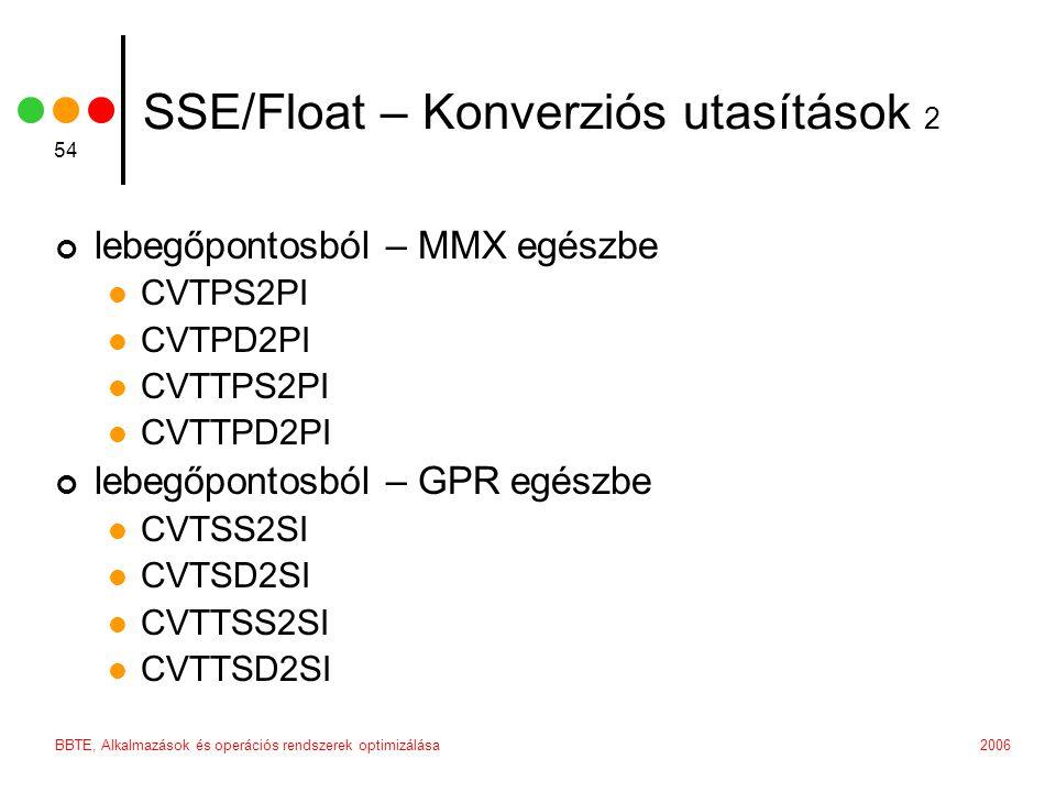 2006BBTE, Alkalmazások és operációs rendszerek optimizálása 54 SSE/Float – Konverziós utasítások 2 lebegőpontosból – MMX egészbe CVTPS2PI CVTPD2PI CVTTPS2PI CVTTPD2PI lebegőpontosból – GPR egészbe CVTSS2SI CVTSD2SI CVTTSS2SI CVTTSD2SI