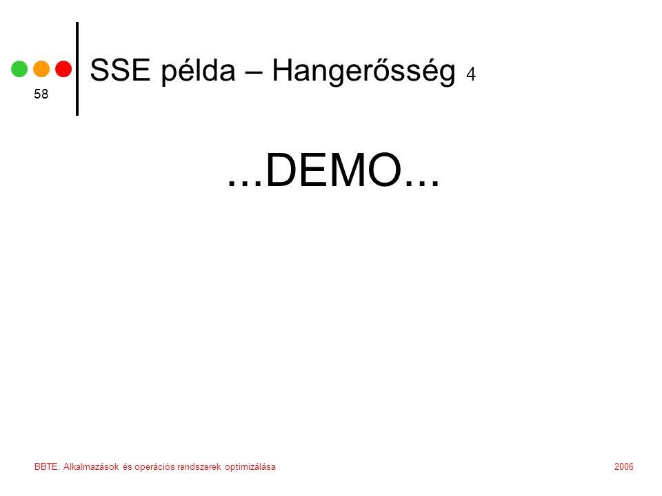 2006BBTE, Alkalmazások és operációs rendszerek optimizálása 58 SSE példa – Hangerősség 4...DEMO...