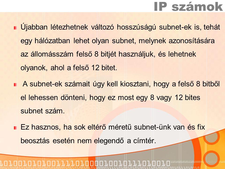 Újabban létezhetnek változó hosszúságú subnet-ek is, tehát egy hálózatban lehet olyan subnet, melynek azonosítására az állomásszám felső 8 bitjét használjuk, és lehetnek olyanok, ahol a felső 12 bitet.
