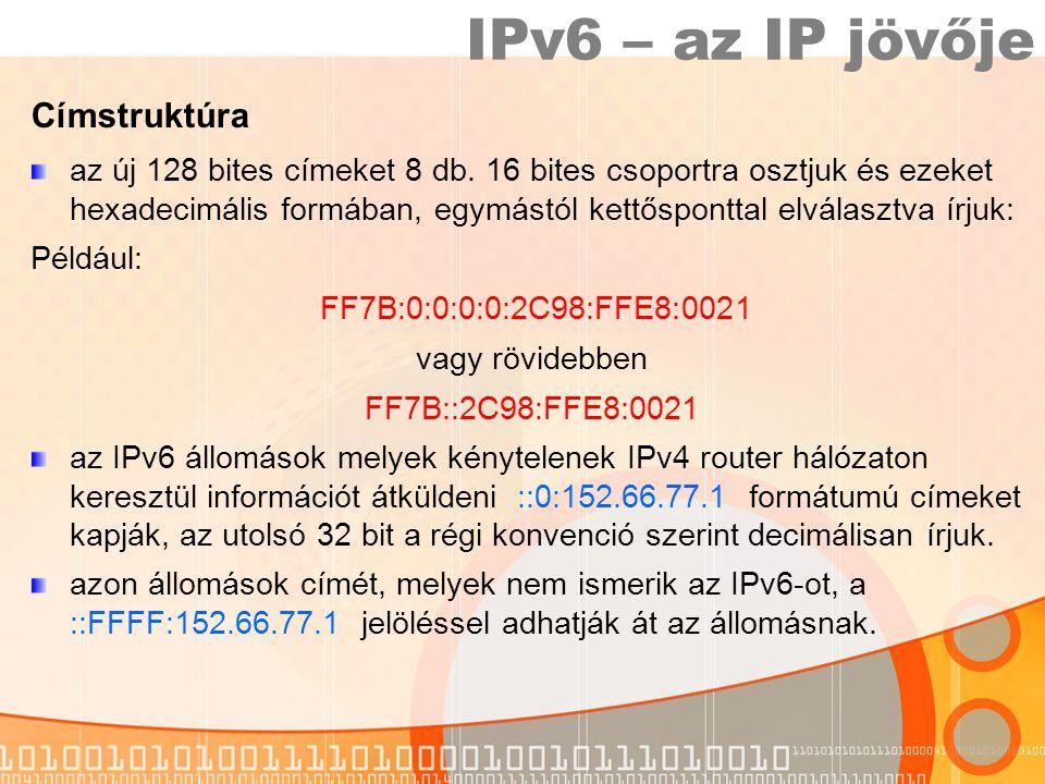 IPv6 – az IP jövője Címstruktúra az új 128 bites címeket 8 db.