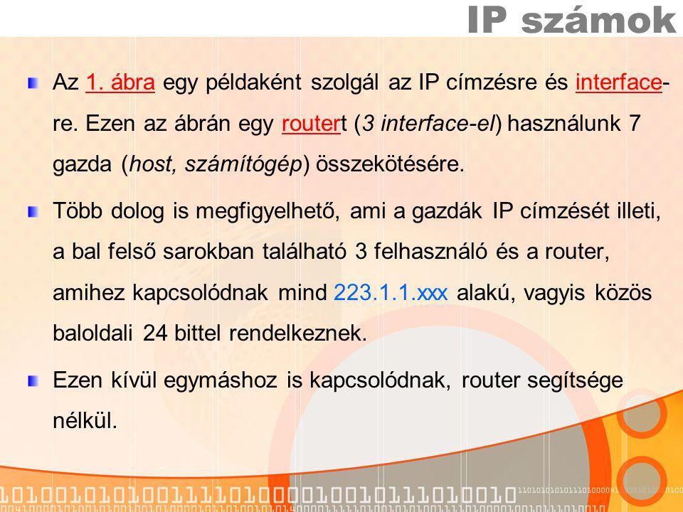 Az 1.ábra egy példaként szolgál az IP címzésre és interface- re.
