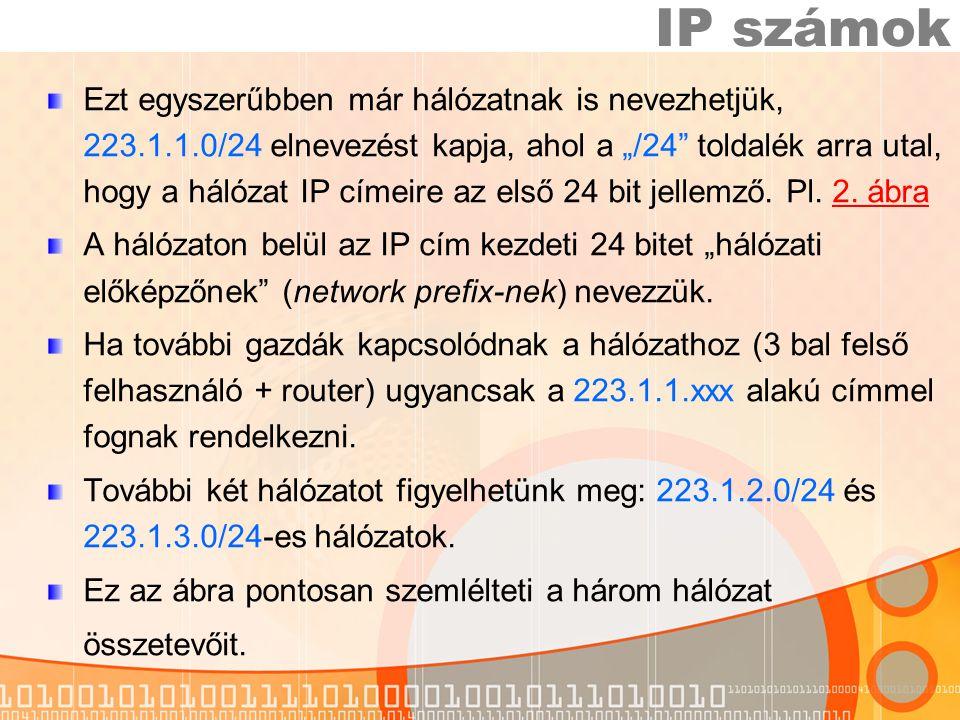"""Ezt egyszerűbben már hálózatnak is nevezhetjük, 223.1.1.0/24 elnevezést kapja, ahol a """"/24 toldalék arra utal, hogy a hálózat IP címeire az első 24 bit jellemző."""