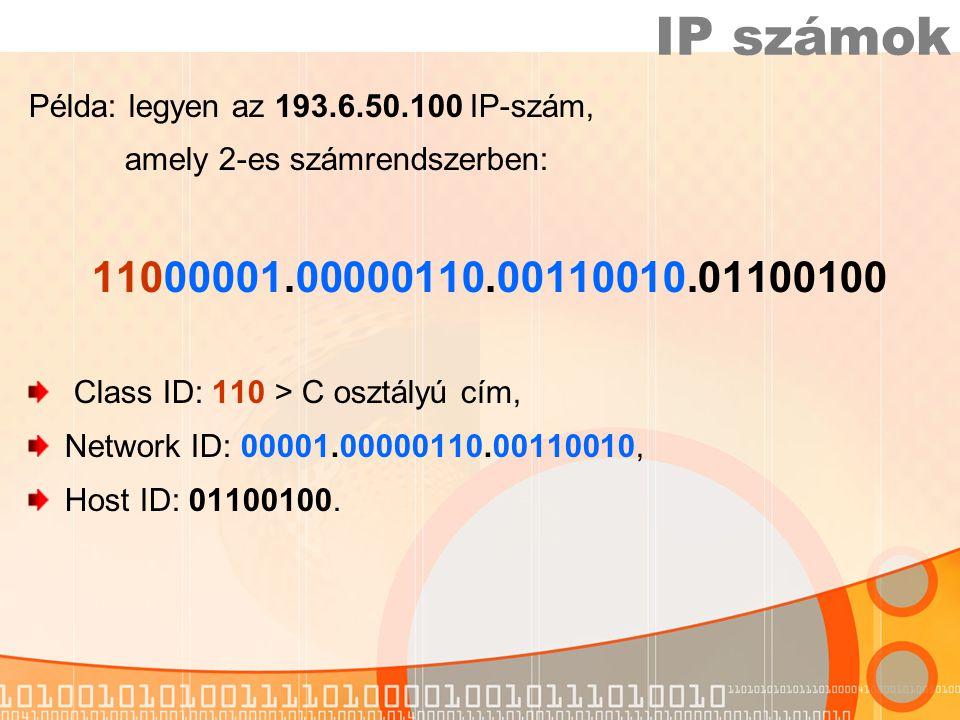 Példa: legyen az 193.6.50.100 IP-szám, amely 2-es számrendszerben: 11000001.00000110.00110010.01100100 Class ID: 110 > C osztályú cím, Network ID: 00001.00000110.00110010, Host ID: 01100100.