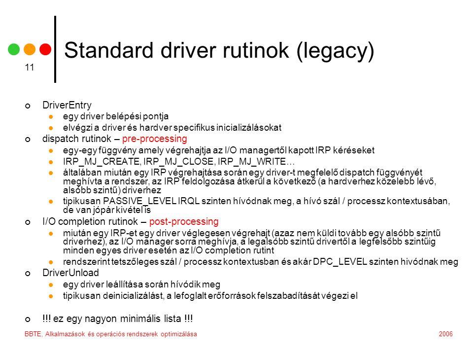 2006BBTE, Alkalmazások és operációs rendszerek optimizálása 11 Standard driver rutinok (legacy) DriverEntry egy driver belépési pontja elvégzi a drive