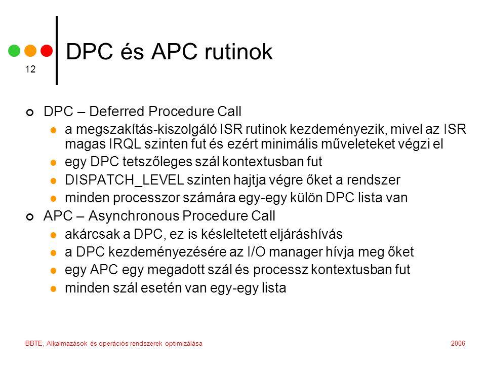 2006BBTE, Alkalmazások és operációs rendszerek optimizálása 12 DPC és APC rutinok DPC – Deferred Procedure Call a megszakítás-kiszolgáló ISR rutinok k