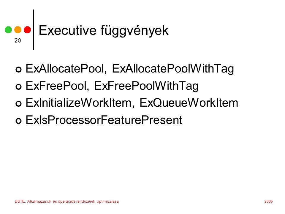 2006BBTE, Alkalmazások és operációs rendszerek optimizálása 20 Executive függvények ExAllocatePool, ExAllocatePoolWithTag ExFreePool, ExFreePoolWithTa