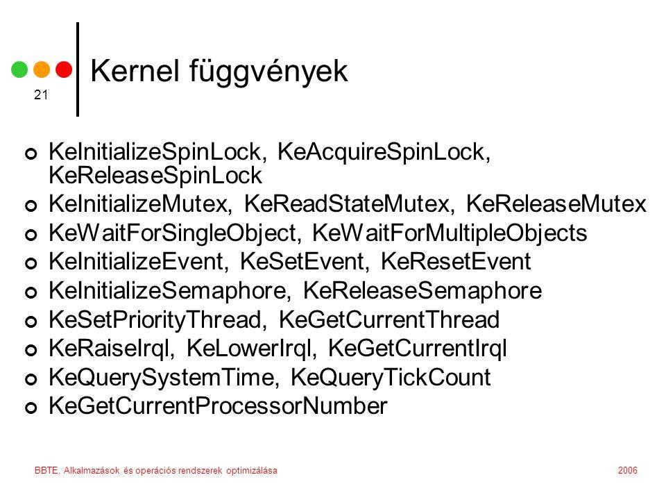 2006BBTE, Alkalmazások és operációs rendszerek optimizálása 21 Kernel függvények KeInitializeSpinLock, KeAcquireSpinLock, KeReleaseSpinLock KeInitiali