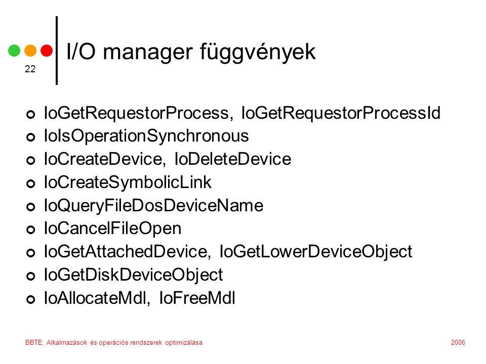 2006BBTE, Alkalmazások és operációs rendszerek optimizálása 22 I/O manager függvények IoGetRequestorProcess, IoGetRequestorProcessId IoIsOperationSync