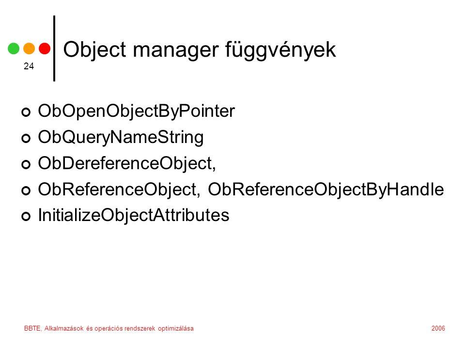 2006BBTE, Alkalmazások és operációs rendszerek optimizálása 24 Object manager függvények ObOpenObjectByPointer ObQueryNameString ObDereferenceObject,