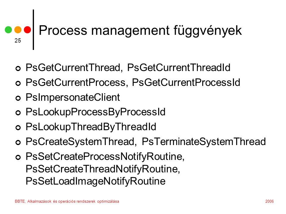 2006BBTE, Alkalmazások és operációs rendszerek optimizálása 25 Process management függvények PsGetCurrentThread, PsGetCurrentThreadId PsGetCurrentProc