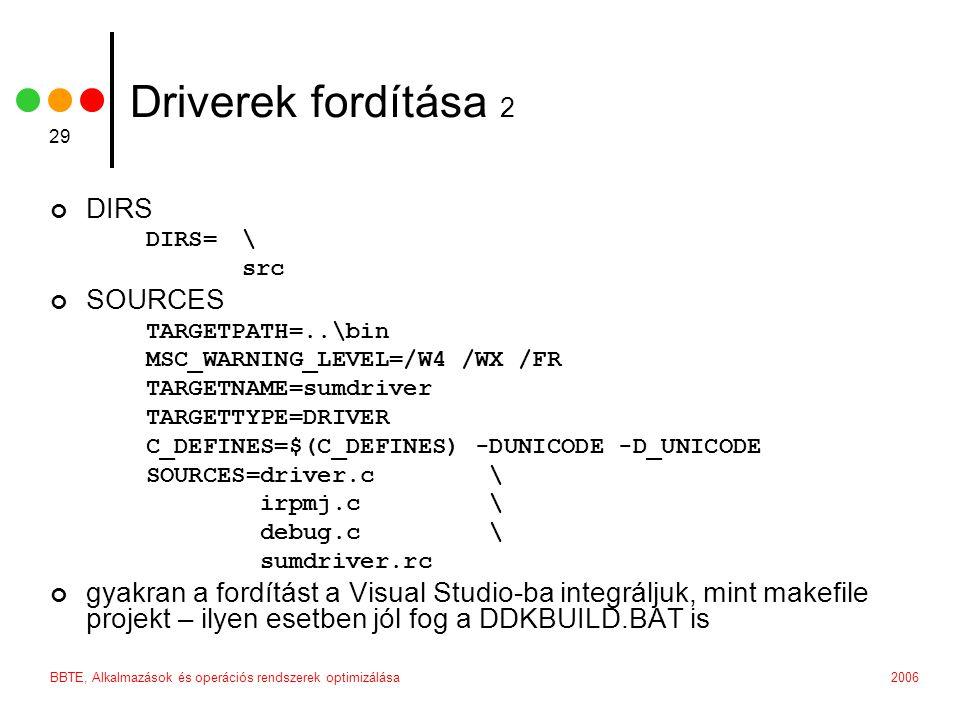 2006BBTE, Alkalmazások és operációs rendszerek optimizálása 29 Driverek fordítása 2 DIRS DIRS= \ src SOURCES TARGETPATH=..\bin MSC_WARNING_LEVEL=/W4 /