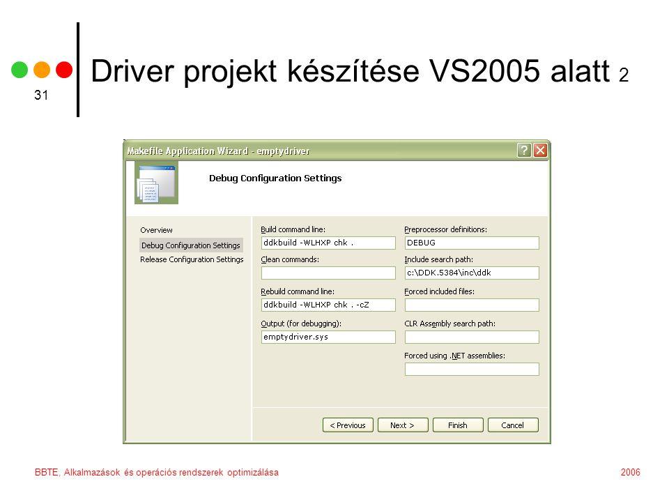 2006BBTE, Alkalmazások és operációs rendszerek optimizálása 31 Driver projekt készítése VS2005 alatt 2