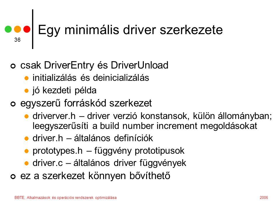 2006BBTE, Alkalmazások és operációs rendszerek optimizálása 36 Egy minimális driver szerkezete csak DriverEntry és DriverUnload initializálás és deini