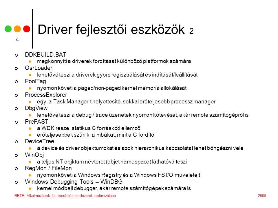 2006BBTE, Alkalmazások és operációs rendszerek optimizálása 4 Driver fejlesztői eszközök 2 DDKBUILD.BAT megkönnyíti a driverek fordítását különböző pl