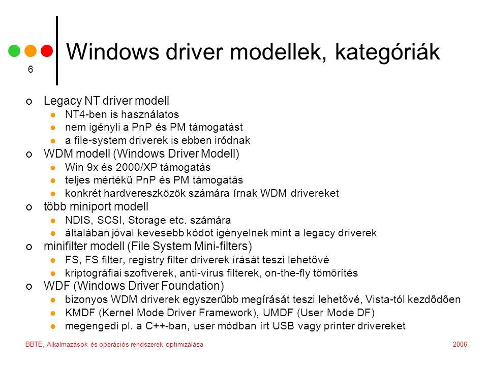 2006BBTE, Alkalmazások és operációs rendszerek optimizálása 37 Globális adatok typedef struct _DRV_GLOBAL_DATA { // DRV specific fields PDRIVER_OBJECT DriverObject; PDEVICE_OBJECT DeviceObject; UNICODE_STRING DeviceName; } DRV_GLOBAL_DATA, *PDRV_GLOBAL_DATA; extern DRV_GLOBAL_DATA DrvGlobalData;