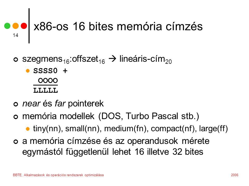 2006BBTE, Alkalmazások és operációs rendszerek optimizálása 14 x86-os 16 bites memória címzés szegmens 16 :offszet 16  lineáris-cím 20 SSSS0 + OOOO LLLLL near és far pointerek memória modellek (DOS, Turbo Pascal stb.) tiny(nn), small(nn), medium(fn), compact(nf), large(ff) a memória címzése és az operandusok mérete egymástól függetlenül lehet 16 illetve 32 bites