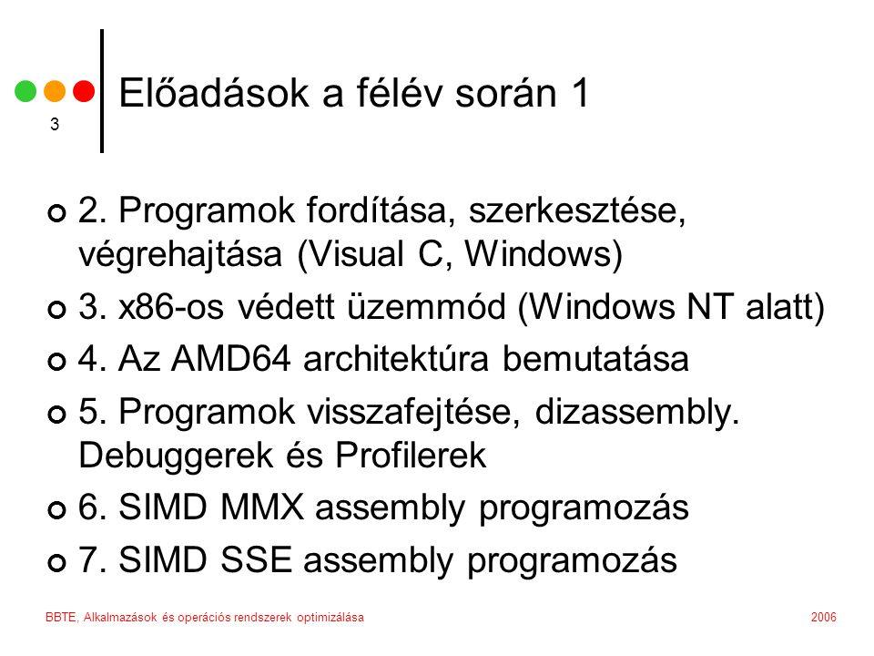 2006BBTE, Alkalmazások és operációs rendszerek optimizálása 3 Előadások a félév során 1 2.