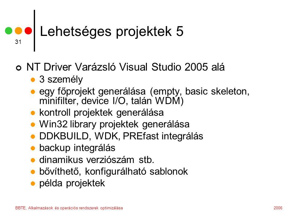 2006BBTE, Alkalmazások és operációs rendszerek optimizálása 31 Lehetséges projektek 5 NT Driver Varázsló Visual Studio 2005 alá 3 személy egy főprojekt generálása (empty, basic skeleton, minifilter, device I/O, talán WDM) kontroll projektek generálása Win32 library projektek generálása DDKBUILD, WDK, PREfast integrálás backup integrálás dinamikus verziószám stb.