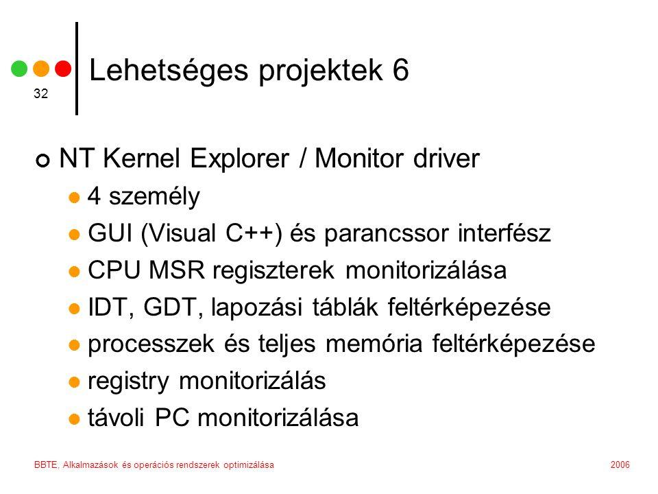 2006BBTE, Alkalmazások és operációs rendszerek optimizálása 32 Lehetséges projektek 6 NT Kernel Explorer / Monitor driver 4 személy GUI (Visual C++) és parancssor interfész CPU MSR regiszterek monitorizálása IDT, GDT, lapozási táblák feltérképezése processzek és teljes memória feltérképezése registry monitorizálás távoli PC monitorizálása