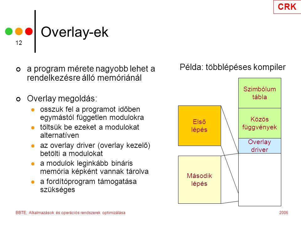 CRK 2006BBTE, Alkalmazások és operációs rendszerek optimizálása 12 Overlay-ek a program mérete nagyobb lehet a rendelkezésre álló memóriánál Overlay megoldás: osszuk fel a programot időben egymástól független modulokra töltsük be ezeket a modulokat alternatíven az overlay driver (overlay kezelő) betölti a modulokat a modulok leginkább bináris memória képként vannak tárolva a fordítóprogram támogatása szükséges Szimbólum tábla Közös függvények Overlay driver Példa: többlépéses kompiler Első lépés Második lépés