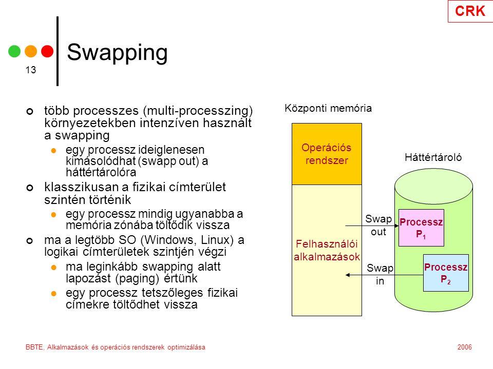 CRK 2006BBTE, Alkalmazások és operációs rendszerek optimizálása 13 Swapping több processzes (multi-processzing) környezetekben intenzíven használt a swapping egy processz ideiglenesen kimásolódhat (swapp out) a háttértárolóra klasszikusan a fizikai címterület szintén történik egy processz mindig ugyanabba a memória zónába töltődik vissza ma a legtöbb SO (Windows, Linux) a logikai címterületek szintjén végzi ma leginkább swapping alatt lapozást (paging) értünk egy processz tetszőleges fizikai címekre töltődhet vissza Operációs rendszer Felhasználói alkalmazások Processz P 1 Processz P 2 Swap out Swap in Központi memória Háttértároló