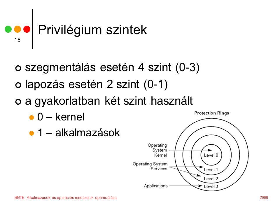 2006BBTE, Alkalmazások és operációs rendszerek optimizálása 16 Privilégium szintek szegmentálás esetén 4 szint (0-3) lapozás esetén 2 szint (0-1) a gyakorlatban két szint használt 0 – kernel 1 – alkalmazások