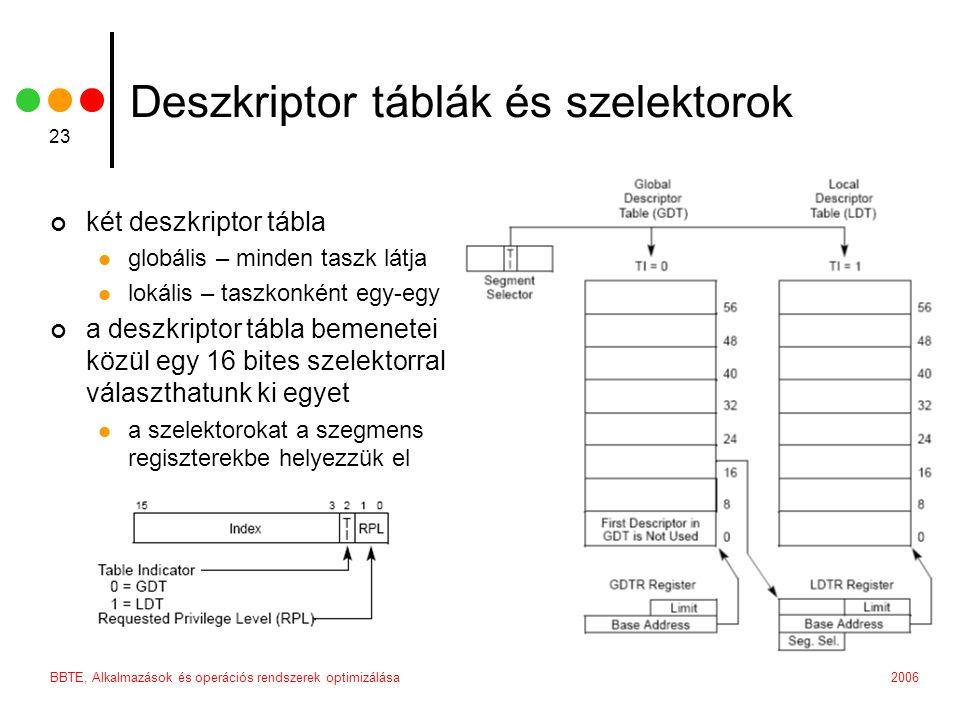 2006BBTE, Alkalmazások és operációs rendszerek optimizálása 23 Deszkriptor táblák és szelektorok két deszkriptor tábla globális – minden taszk látja lokális – taszkonként egy-egy a deszkriptor tábla bemenetei közül egy 16 bites szelektorral választhatunk ki egyet a szelektorokat a szegmens regiszterekbe helyezzük el