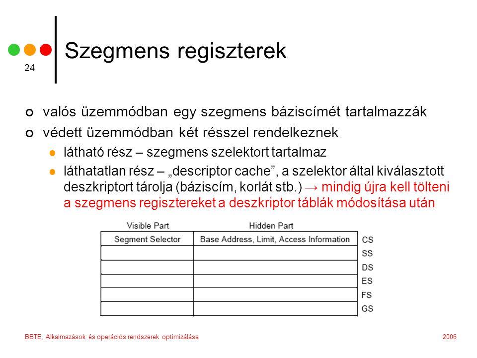 """2006BBTE, Alkalmazások és operációs rendszerek optimizálása 24 Szegmens regiszterek valós üzemmódban egy szegmens báziscímét tartalmazzák védett üzemmódban két résszel rendelkeznek látható rész – szegmens szelektort tartalmaz láthatatlan rész – """"descriptor cache , a szelektor által kiválasztott deszkriptort tárolja (báziscím, korlát stb.) → mindig újra kell tölteni a szegmens regisztereket a deszkriptor táblák módosítása után"""