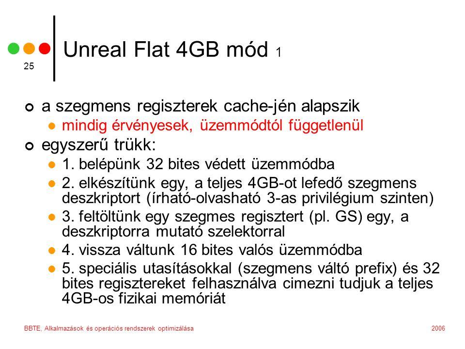 2006BBTE, Alkalmazások és operációs rendszerek optimizálása 25 Unreal Flat 4GB mód 1 a szegmens regiszterek cache-jén alapszik mindig érvényesek, üzemmódtól függetlenül egyszerű trükk: 1.