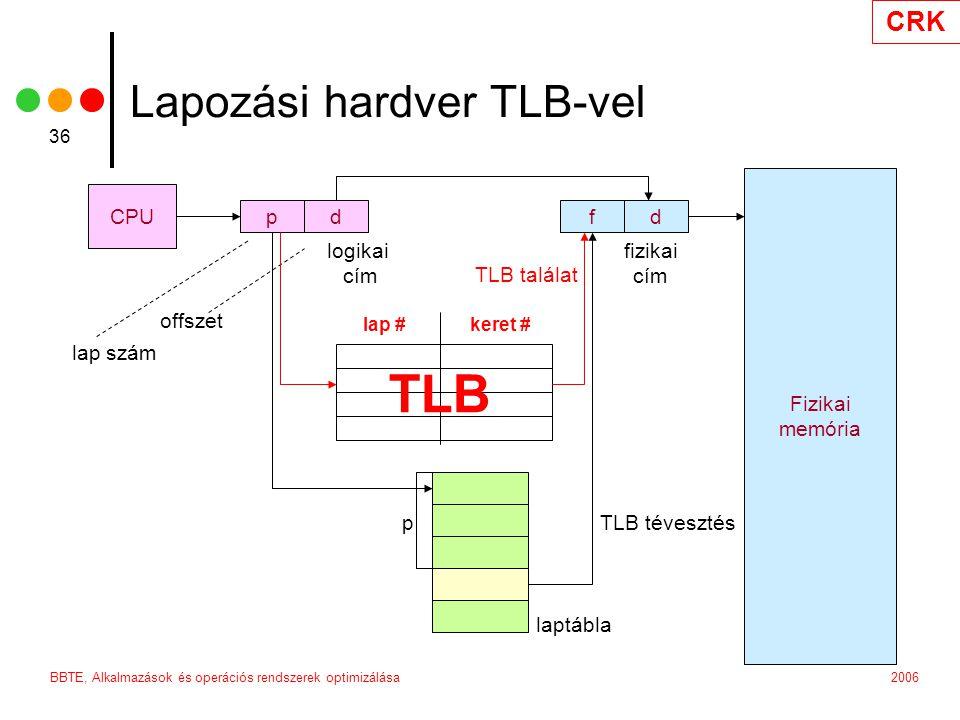 CRK 2006BBTE, Alkalmazások és operációs rendszerek optimizálása 36 Lapozási hardver TLB-vel CPU fdpd Fizikai memória logikai cím fizikai cím p laptábla lap szám offszet lap #keret # TLB TLB tévesztés TLB találat