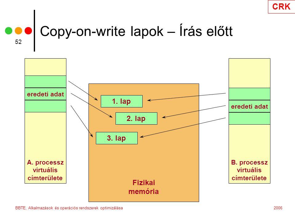 CRK 2006BBTE, Alkalmazások és operációs rendszerek optimizálása 52 Fizikai memória 3.