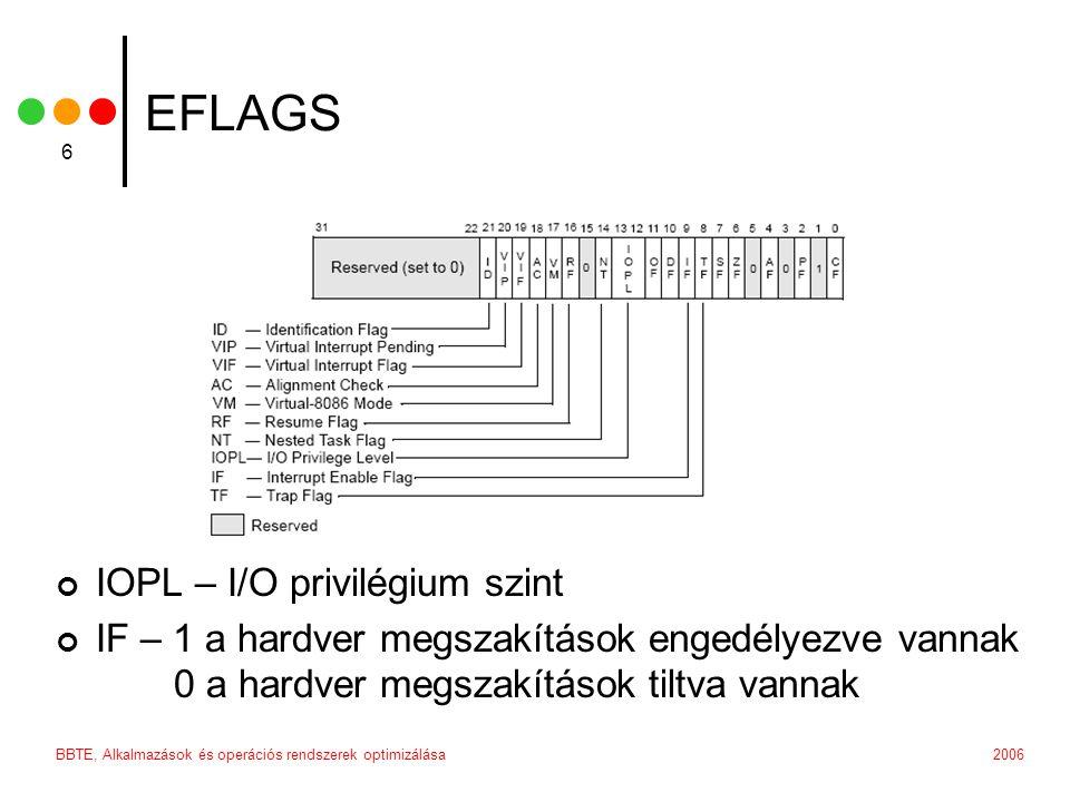 2006BBTE, Alkalmazások és operációs rendszerek optimizálása 6 EFLAGS IOPL – I/O privilégium szint IF – 1 a hardver megszakítások engedélyezve vannak 0 a hardver megszakítások tiltva vannak