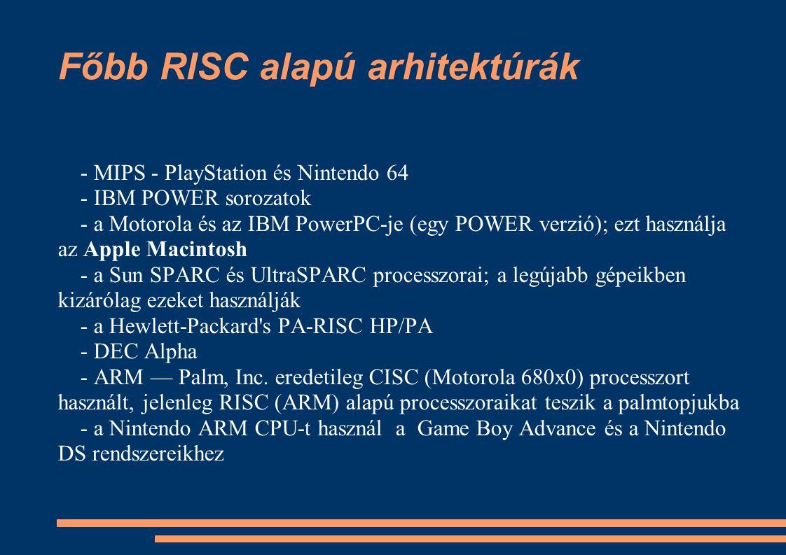 Főbb RISC alapú arhitektúrák - MIPS - PlayStation és Nintendo 64 - IBM POWER sorozatok - a Motorola és az IBM PowerPC-je (egy POWER verzió); ezt haszn