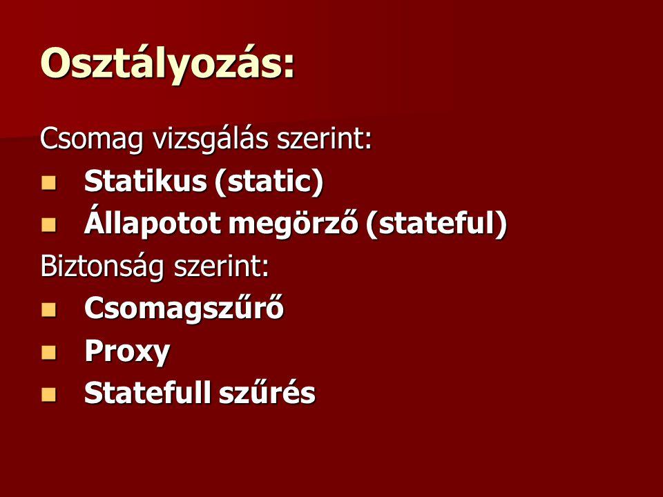 Osztályozás: Csomag vizsgálás szerint: Statikus (static) Statikus (static) Állapotot megörző (stateful) Állapotot megörző (stateful) Biztonság szerint