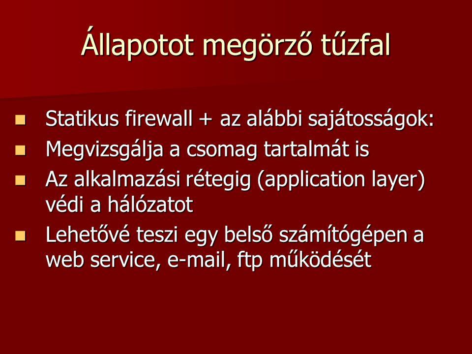 Állapotot megörző tűzfal Statikus firewall + az alábbi sajátosságok: Statikus firewall + az alábbi sajátosságok: Megvizsgálja a csomag tartalmát is Me