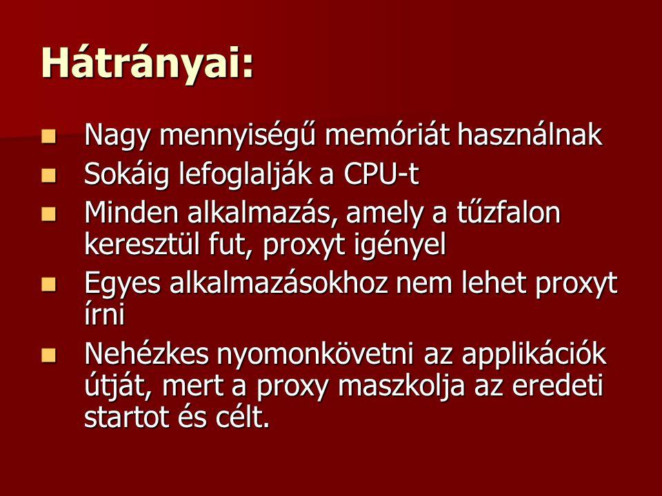 Hátrányai: Nagy mennyiségű memóriát használnak Nagy mennyiségű memóriát használnak Sokáig lefoglalják a CPU-t Sokáig lefoglalják a CPU-t Minden alkalm